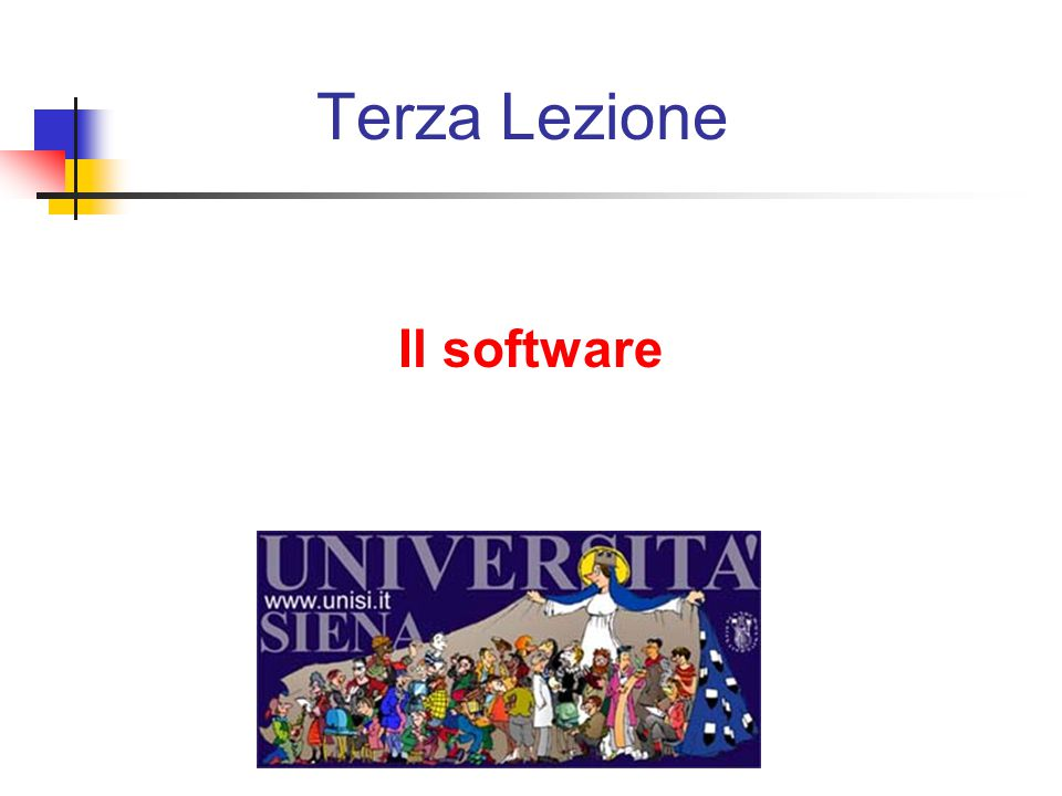 Il software è l'insieme dei programmi che vengono eseguiti dal sistema.