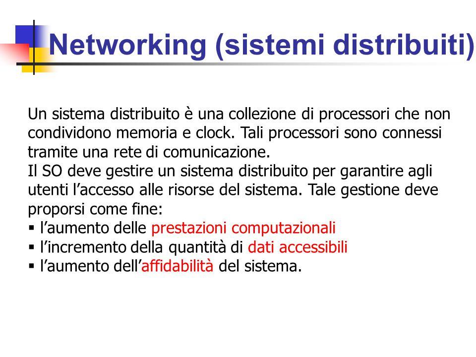 Networking (sistemi distribuiti) Un sistema distribuito è una collezione di processori che non condividono memoria e clock.