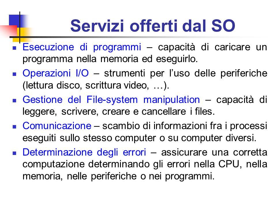 Servizi offerti dal SO Esecuzione di programmi – capacità di caricare un programma nella memoria ed eseguirlo.