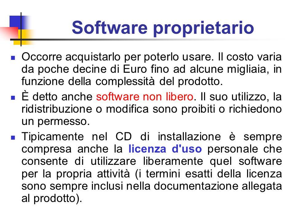 Software proprietario Occorre acquistarlo per poterlo usare.