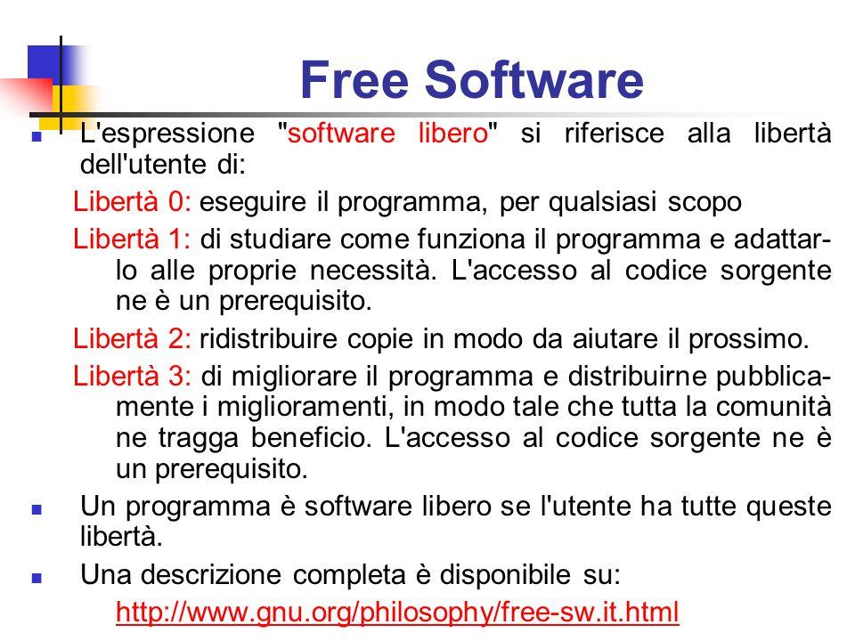 Free Software L espressione software libero si riferisce alla libertà dell utente di: Libertà 0: eseguire il programma, per qualsiasi scopo Libertà 1: di studiare come funziona il programma e adattar- lo alle proprie necessità.