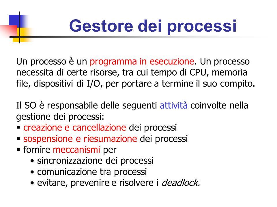 Gestore dei processi Un processo è un programma in esecuzione.