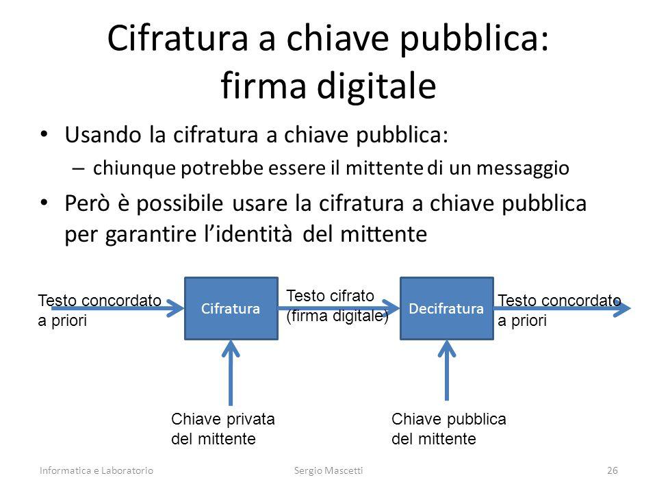 Cifratura a chiave pubblica: firma digitale Usando la cifratura a chiave pubblica: – chiunque potrebbe essere il mittente di un messaggio Però è possi