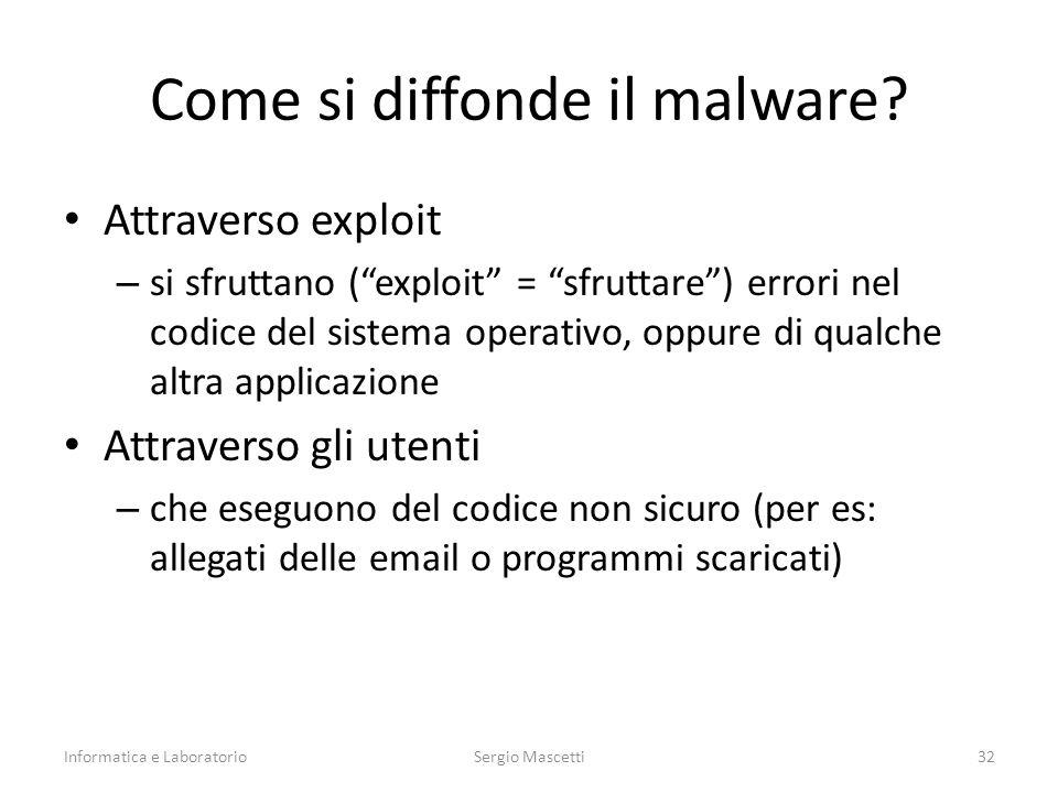 """Come si diffonde il malware? Attraverso exploit – si sfruttano (""""exploit"""" = """"sfruttare"""") errori nel codice del sistema operativo, oppure di qualche al"""