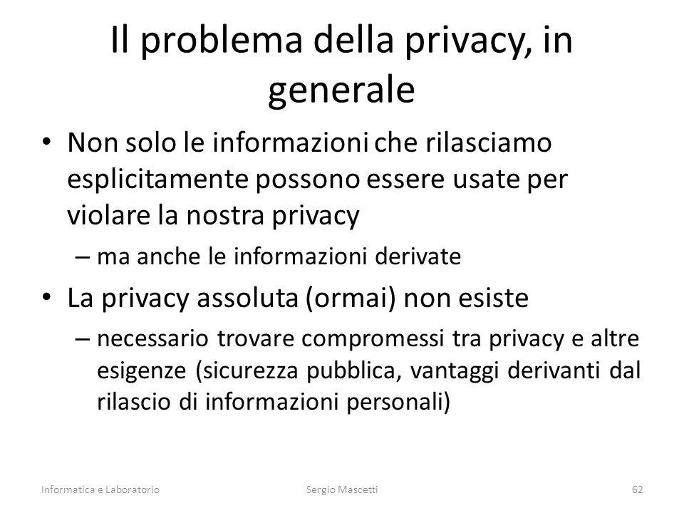 Il problema della privacy, in generale Non solo le informazioni che rilasciamo esplicitamente possono essere usate per violare la nostra privacy – ma
