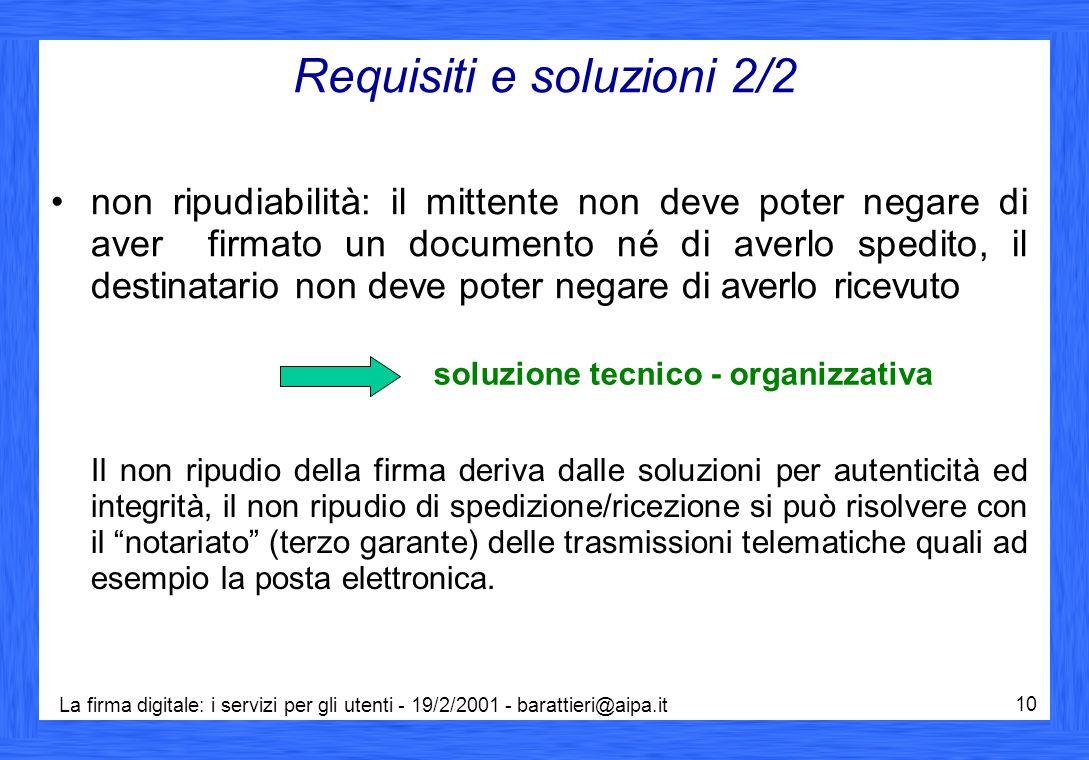 La firma digitale: i servizi per gli utenti - 19/2/2001 - barattieri@aipa.it 10 Requisiti e soluzioni 2/2 non ripudiabilità: il mittente non deve pote