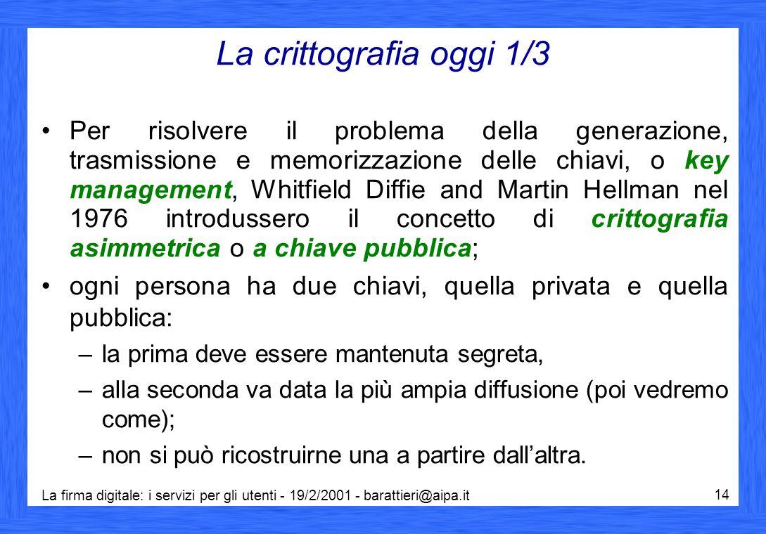 La firma digitale: i servizi per gli utenti - 19/2/2001 - barattieri@aipa.it 14 La crittografia oggi 1/3 Per risolvere il problema della generazione,