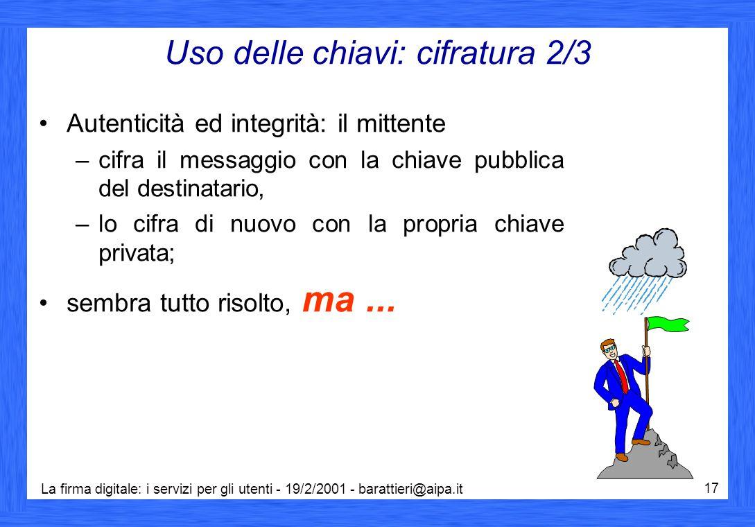 La firma digitale: i servizi per gli utenti - 19/2/2001 - barattieri@aipa.it 17 Uso delle chiavi: cifratura 2/3 Autenticità ed integrità: il mittente