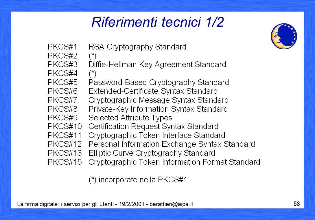 La firma digitale: i servizi per gli utenti - 19/2/2001 - barattieri@aipa.it 58 Riferimenti tecnici 1/2