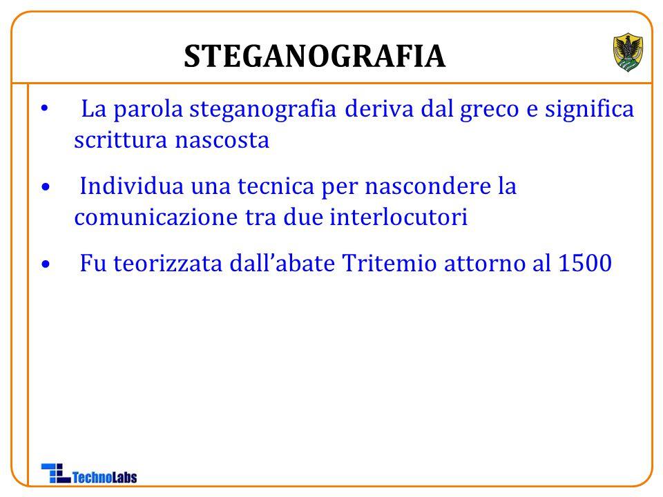 La parola steganografia deriva dal greco e significa scrittura nascosta Individua una tecnica per nascondere la comunicazione tra due interlocutori Fu