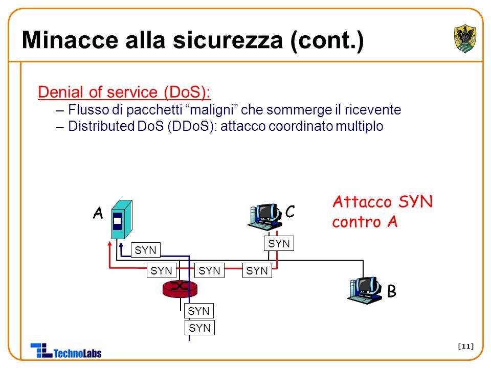 [11] Minacce alla sicurezza (cont.) Denial of service (DoS): –Flusso di pacchetti maligni che sommerge il ricevente –Distributed DoS (DDoS): attacco coordinato multiplo A B C SYN Attacco SYN contro A