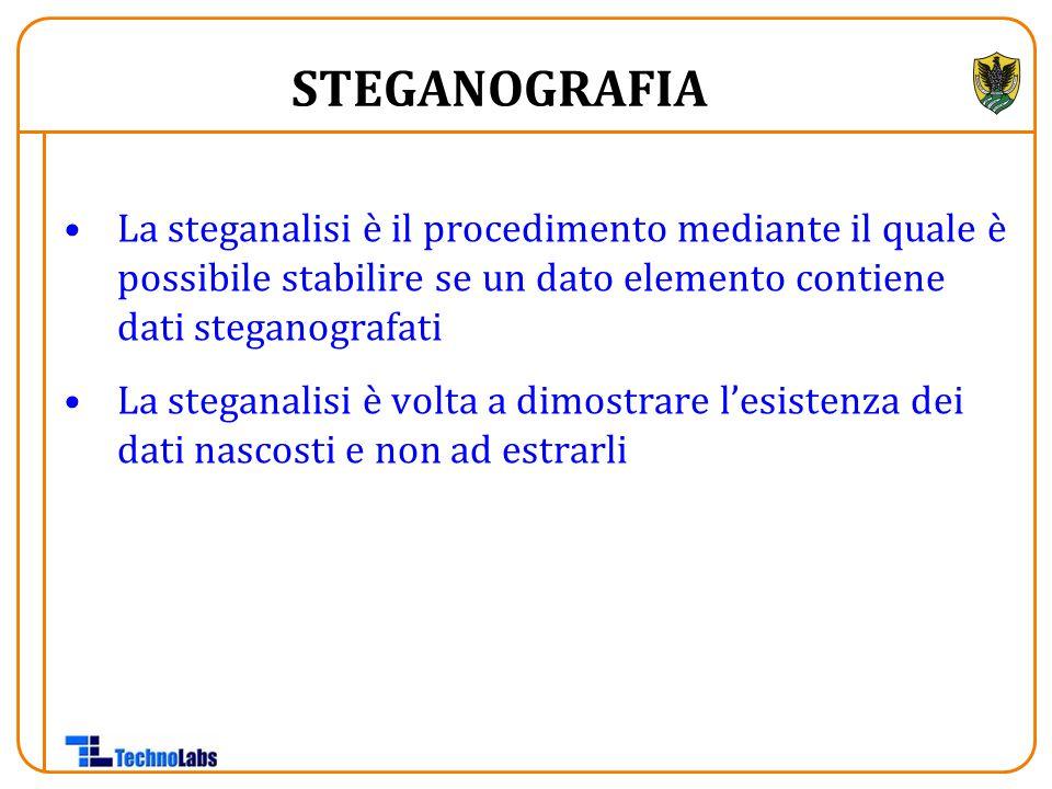 La steganalisi è il procedimento mediante il quale è possibile stabilire se un dato elemento contiene dati steganografati La steganalisi è volta a dimostrare l'esistenza dei dati nascosti e non ad estrarli STEGANOGRAFIA