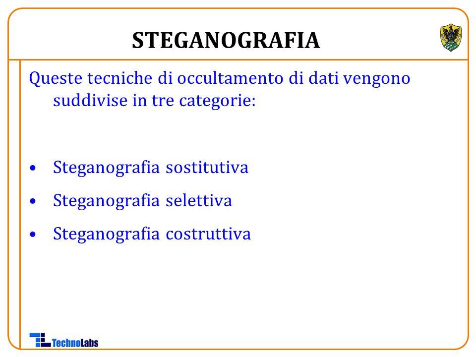 Queste tecniche di occultamento di dati vengono suddivise in tre categorie: Steganografia sostitutiva Steganografia selettiva Steganografia costruttiva STEGANOGRAFIA