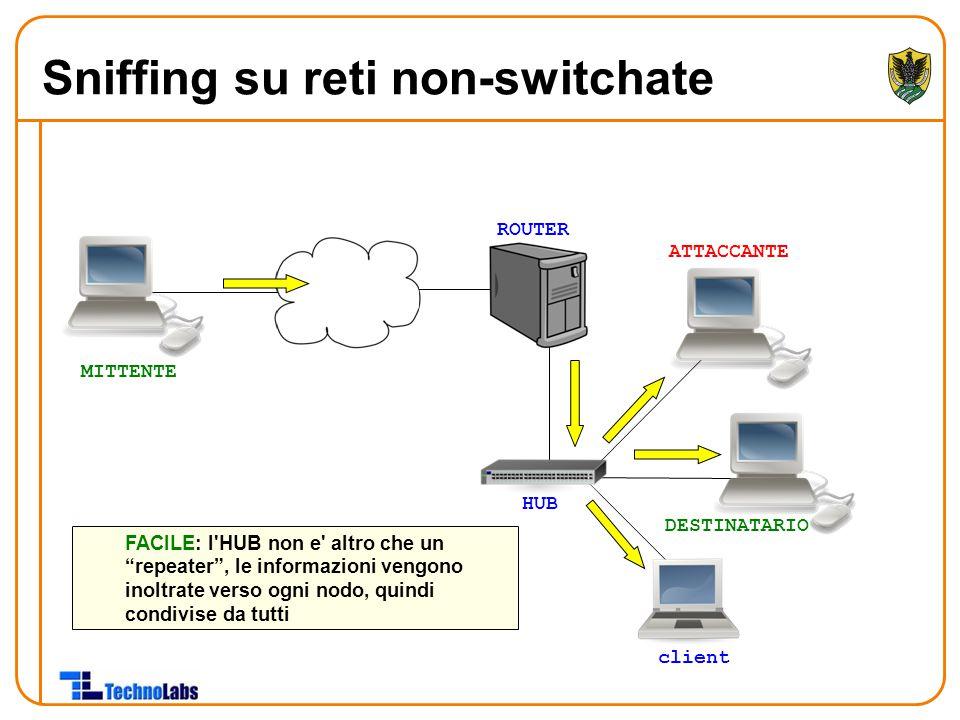 ROUTER HUB ATTACCANTE DESTINATARIO client FACILE: l HUB non e altro che un repeater , le informazioni vengono inoltrate verso ogni nodo, quindi condivise da tutti MITTENTE Sniffing su reti non-switchate