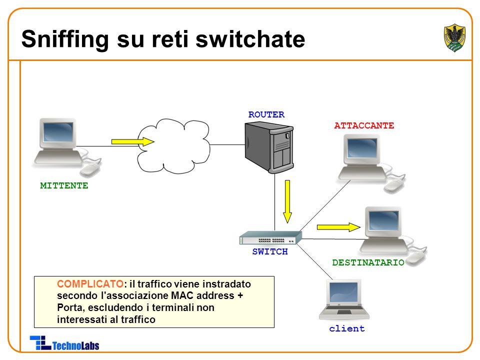 ROUTER ATTACCANTE DESTINATARIO client COMPLICATO: il traffico viene instradato secondo l'associazione MAC address + Porta, escludendo i terminali non