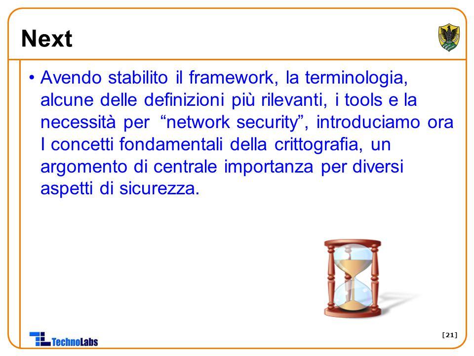 [21] Next Avendo stabilito il framework, la terminologia, alcune delle definizioni più rilevanti, i tools e la necessità per network security , introduciamo ora I concetti fondamentali della crittografia, un argomento di centrale importanza per diversi aspetti di sicurezza.