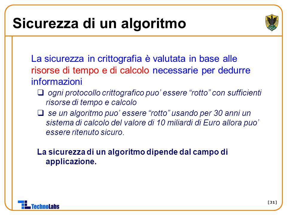[31] Sicurezza di un algoritmo La sicurezza in crittografia è valutata in base alle risorse di tempo e di calcolo necessarie per dedurre informazioni
