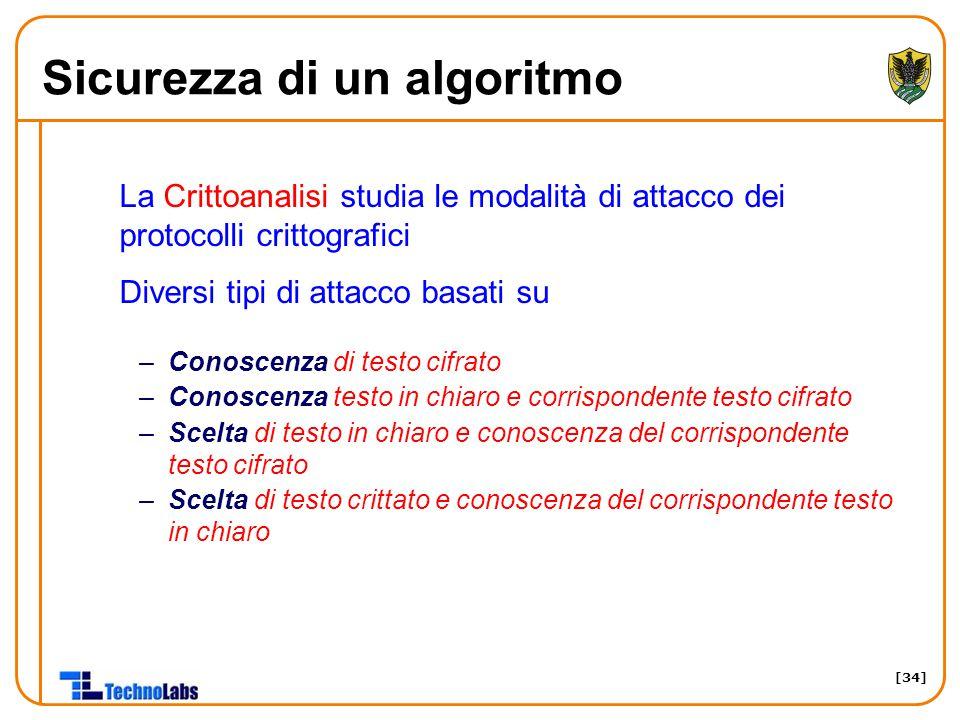 [34] Sicurezza di un algoritmo La Crittoanalisi studia le modalità di attacco dei protocolli crittografici Diversi tipi di attacco basati su –Conoscen