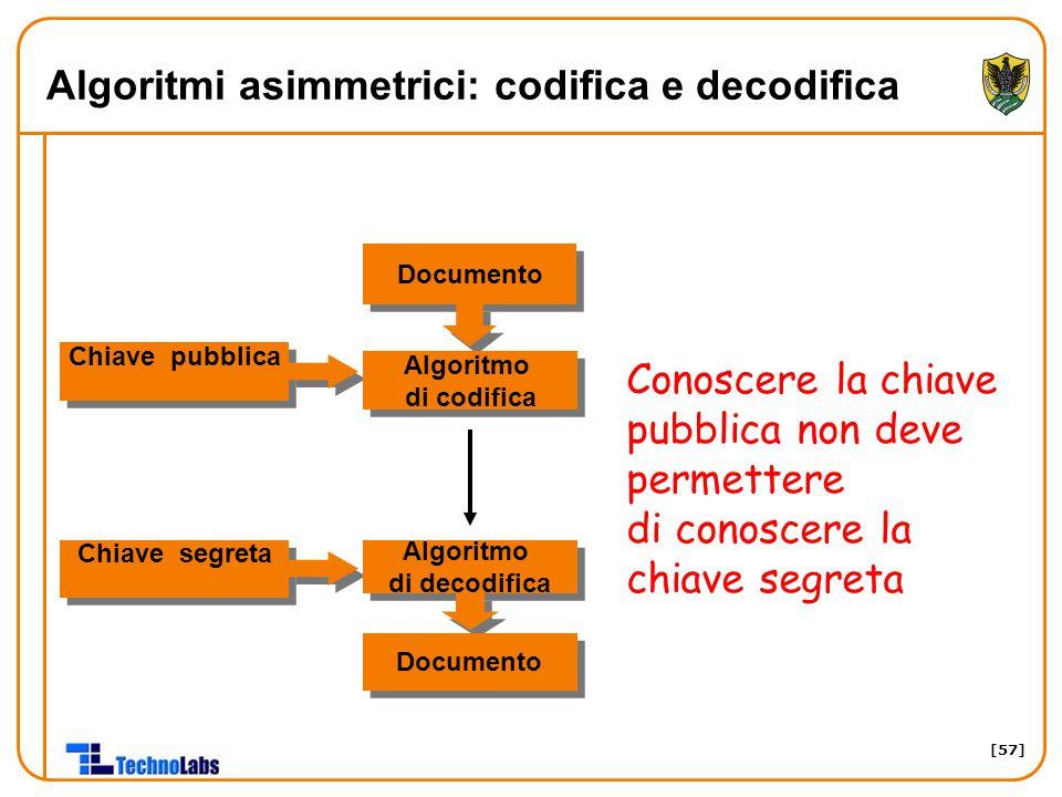 [57] Algoritmi asimmetrici: codifica e decodifica Chiave segreta Algoritmo di decodifica Algoritmo di decodifica Documento Chiave pubblica Algoritmo di codifica Algoritmo di codifica Conoscere la chiave pubblica non deve permettere di conoscere la chiave segreta