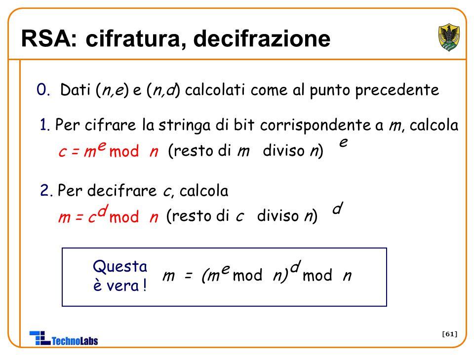 [61] RSA: cifratura, decifrazione 0. Dati (n,e) e (n,d) calcolati come al punto precedente 1. Per cifrare la stringa di bit corrispondente a m, calcol