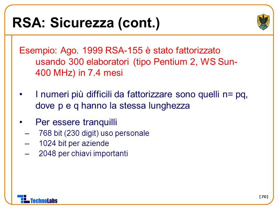 [70] RSA: Sicurezza (cont.) Esempio: Ago.