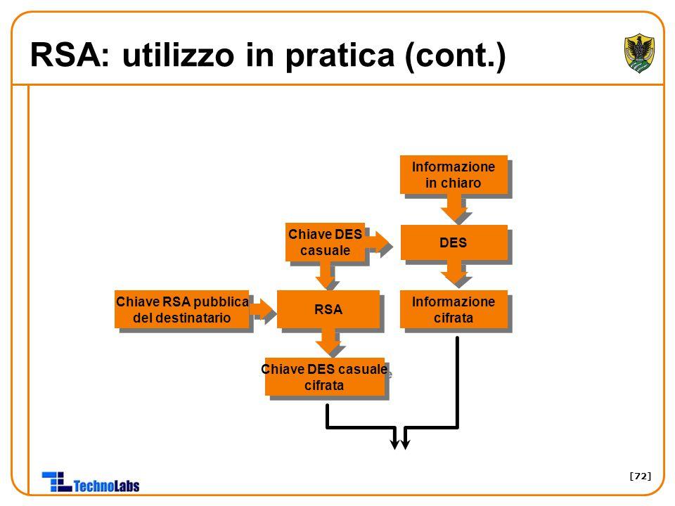 [72] RSA: utilizzo in pratica (cont.) Informazione in chiaro DES Chiave RSA pubblica del destinatario Chiave RSA pubblica del destinatario Chiave DES