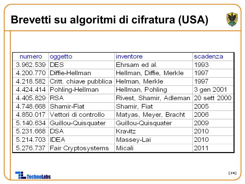 [74] Brevetti su algoritmi di cifratura (USA)