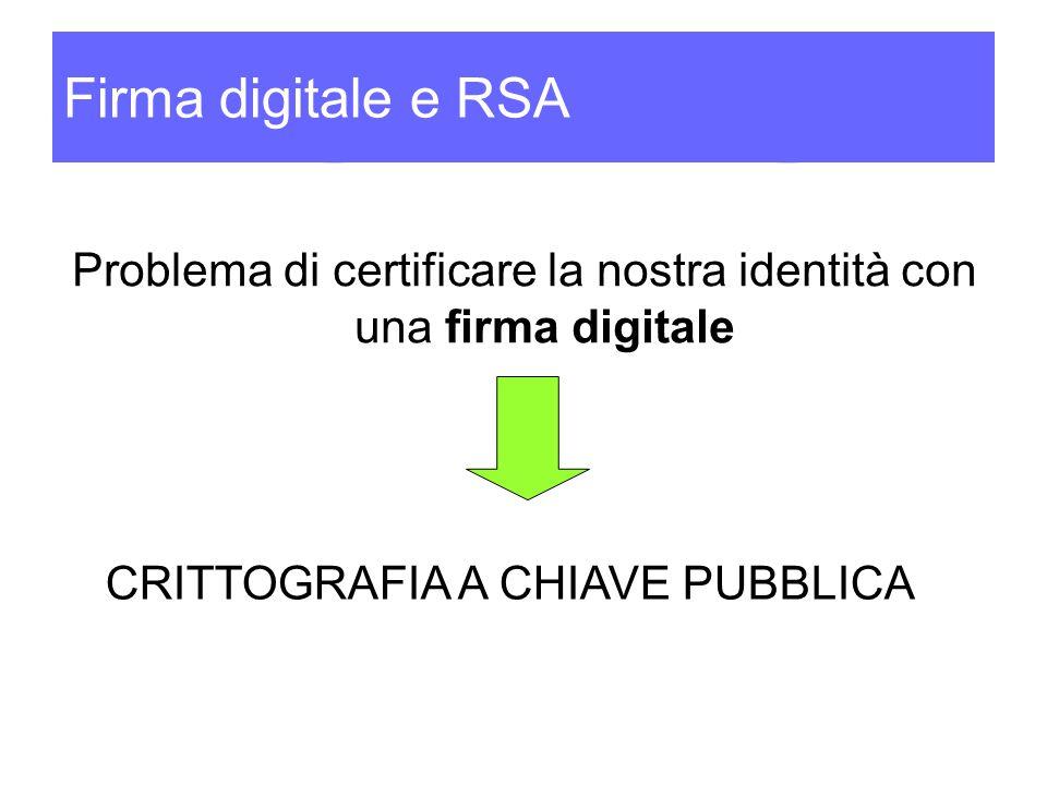 Firma digitale e RSA Problema di certificare la nostra identità con una firma digitale CRITTOGRAFIA A CHIAVE PUBBLICA