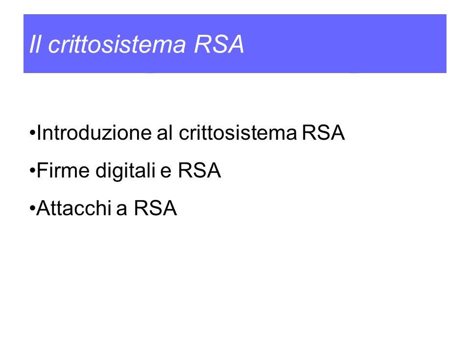 Il crittosistema RSA Introduzione al crittosistema RSA Firme digitali e RSA Attacchi a RSA
