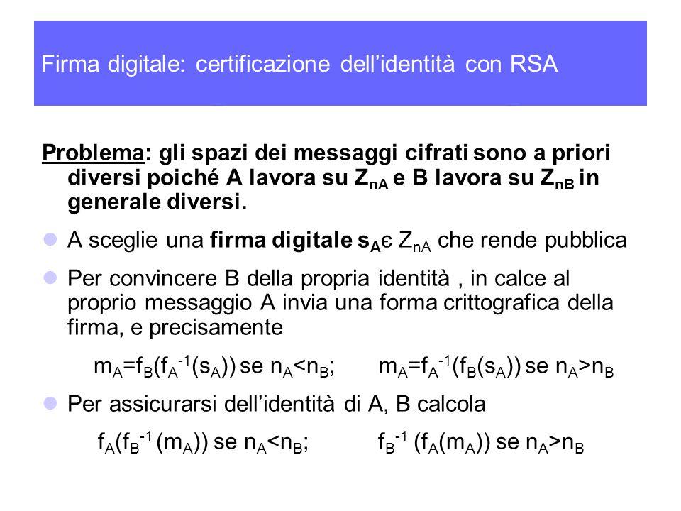Firma digitale: certificazione dell'identità con RSA Problema: gli spazi dei messaggi cifrati sono a priori diversi poiché A lavora su Z nA e B lavora