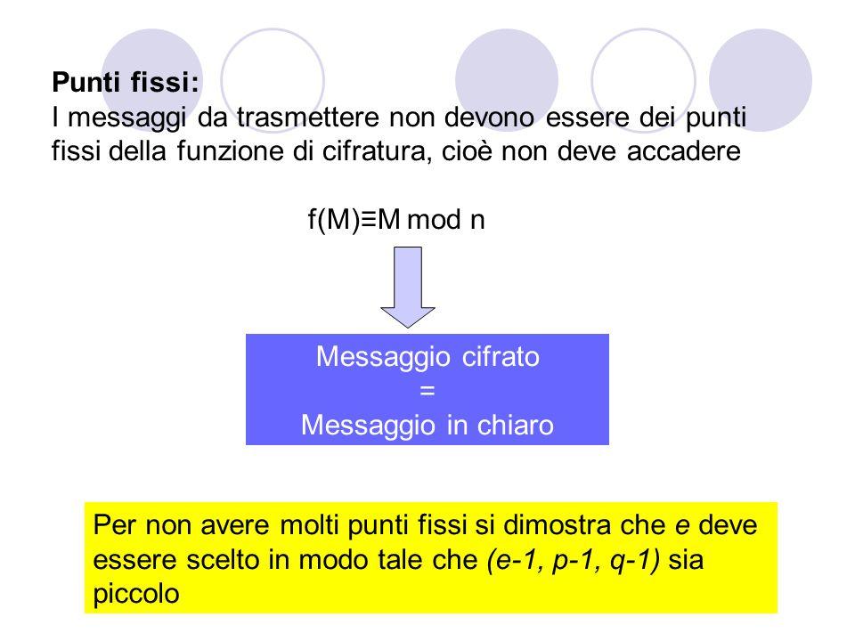 Punti fissi: I messaggi da trasmettere non devono essere dei punti fissi della funzione di cifratura, cioè non deve accadere f(M)≡M mod n Messaggio ci