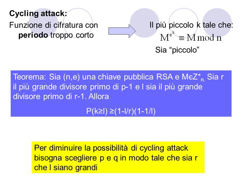 """Cycling attack: Funzione di cifratura con periodo troppo corto Il più piccolo k tale che: Sia """"piccolo"""" Teorema: Sia (n,e) una chiave pubblica RSA e M"""