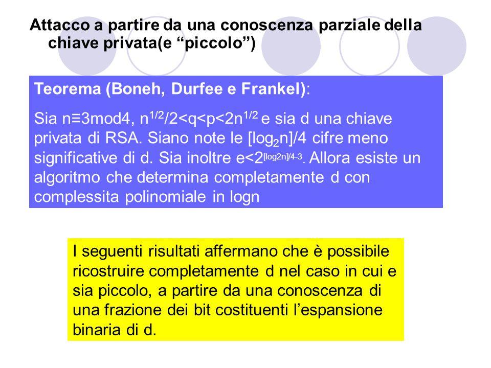 """Attacco a partire da una conoscenza parziale della chiave privata(e """"piccolo"""") Teorema (Boneh, Durfee e Frankel): Sia n≡3mod4, n 1/2 /2<q<p<2n 1/2 e s"""