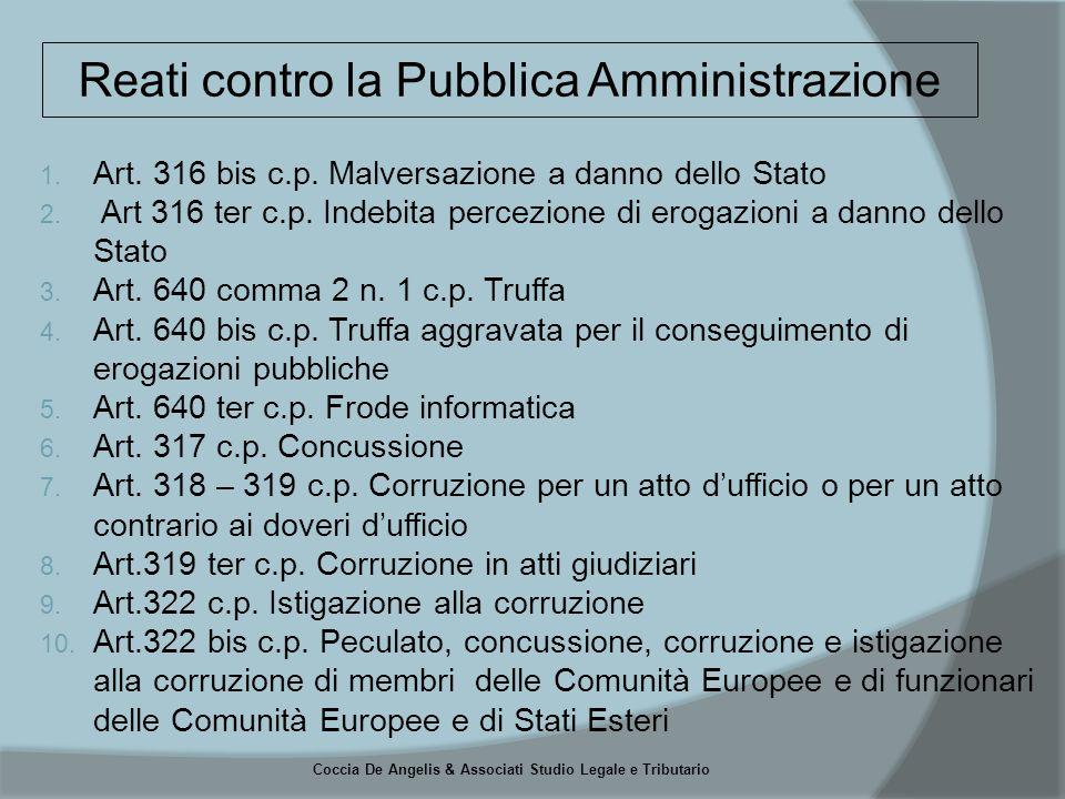 Coccia De Angelis & Associati Studio Legale e Tributario  PARTECIPAZIONE A GARE PER LA VENDITA DI PRODOTTI E SERVIZI  GESTIONE DELLE COMUNICAZIONI PERIODICHE NEI CONFRONTI DELLE AUTORITA' (CONSOB)  GESTIONE DEI RAPPORTI CON SOGGETTI PUBBLICI PER L'OTTENIMENTO DI AUTORIZZAZIONI, LICENZE E CONCESSIONI PER L'ESERCIZIO DELLE ATTIVITA' AZIENDALI  GESTIONE DEI CONTENZIOSI GIUDIZIALI O STRAGIUDIZIALI  GESTIONE DEI RAPPORTI CON I SOGGETTI PUBBLICI PER GLI ASPETTI CHE RIGUARDANO LA SICUREZZA E L'IGIENE SUL LAVORO(D.LGS.