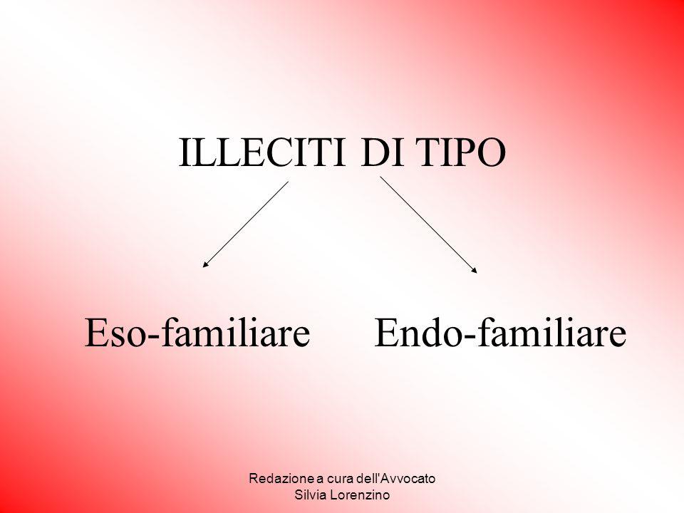 Redazione a cura dell'Avvocato Silvia Lorenzino ILLECITI DI TIPO Eso-familiare Endo-familiare