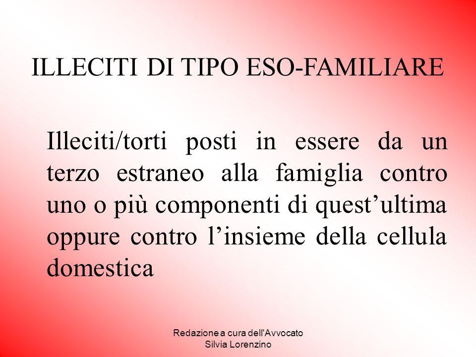 Redazione a cura dell'Avvocato Silvia Lorenzino Illeciti/torti posti in essere da un terzo estraneo alla famiglia contro uno o più componenti di quest