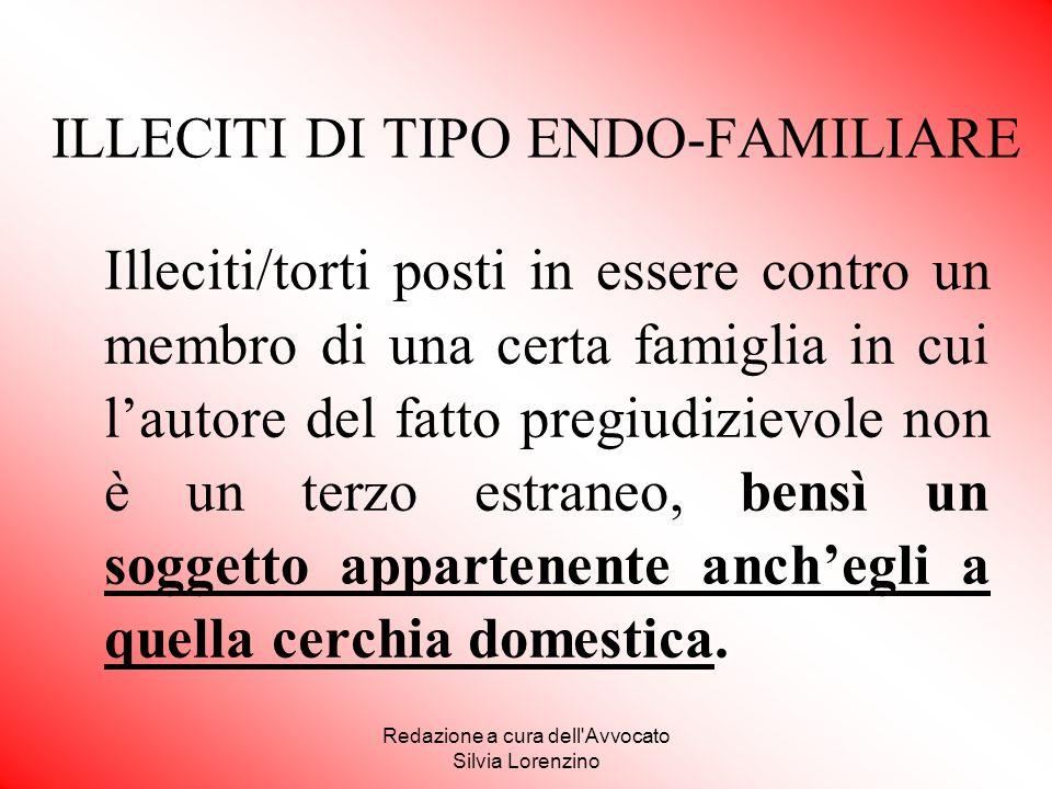 Redazione a cura dell'Avvocato Silvia Lorenzino ILLECITI DI TIPO ENDO-FAMILIARE Illeciti/torti posti in essere contro un membro di una certa famiglia