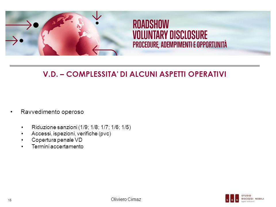 V.D. – COMPLESSITA' DI ALCUNI ASPETTI OPERATIVI Ravvedimento operoso Riduzione sanzioni (1/9; 1/8; 1/7; 1/6; 1/5) Accessi, ispezioni, verifiche (pvc)