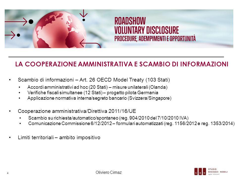 LA COOPERAZIONE AMMINISTRATIVA E SCAMBIO DI INFORMAZIONI Scambio di informazioni – Art. 26 OECD Model Treaty (103 Stati) Accordi amministrativi ad hoc