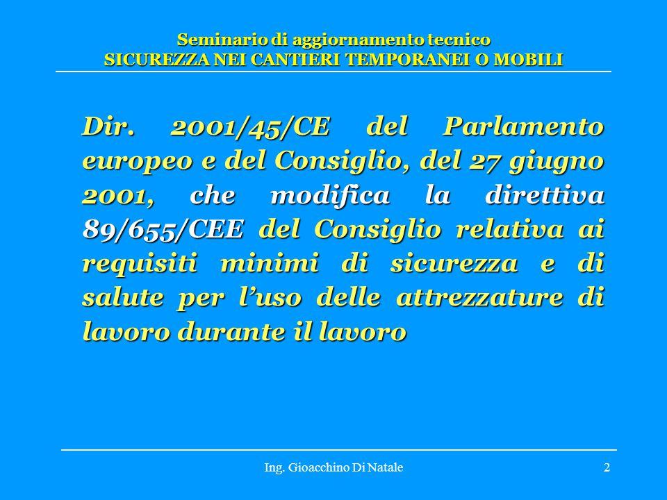 Ing.Gioacchino Di Natale3 Dir. 89/391/CEE: Sicurezza e salute dei lavoratori (Q) Dir.