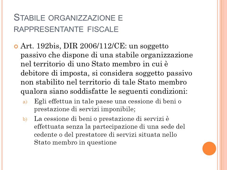 S TABILE ORGANIZZAZIONE E RAPPRESENTANTE FISCALE Art. 192bis, DIR 2006/112/CE: un soggetto passivo che dispone di una stabile organizzazione nel terri