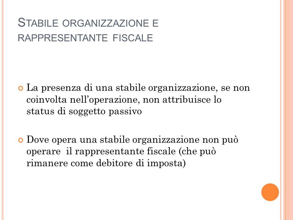 S TABILE ORGANIZZAZIONE E RAPPRESENTANTE FISCALE La presenza di una stabile organizzazione, se non coinvolta nell'operazione, non attribuisce lo statu