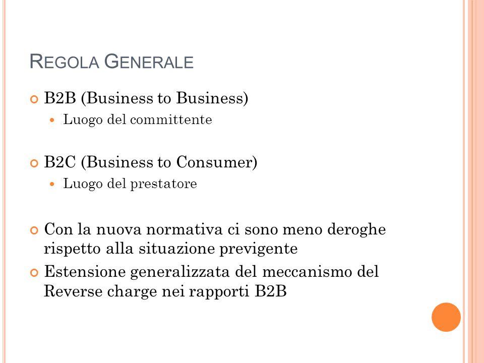 R EGOLA G ENERALE B2B (Business to Business) Luogo del committente B2C (Business to Consumer) Luogo del prestatore Con la nuova normativa ci sono meno deroghe rispetto alla situazione previgente Estensione generalizzata del meccanismo del Reverse charge nei rapporti B2B