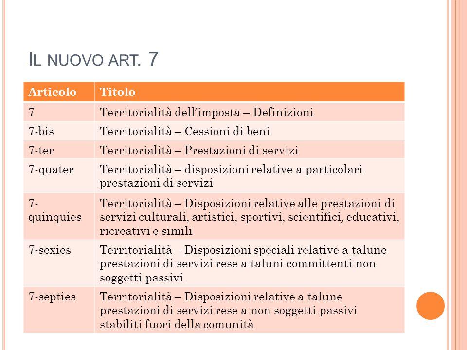 I L NUOVO ART. 7 ArticoloTitolo 7Territorialità dell'imposta – Definizioni 7-bisTerritorialità – Cessioni di beni 7-terTerritorialità – Prestazioni di