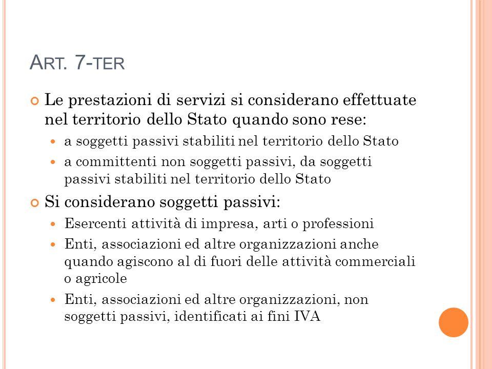 A RT. 7- TER Le prestazioni di servizi si considerano effettuate nel territorio dello Stato quando sono rese: a soggetti passivi stabiliti nel territo