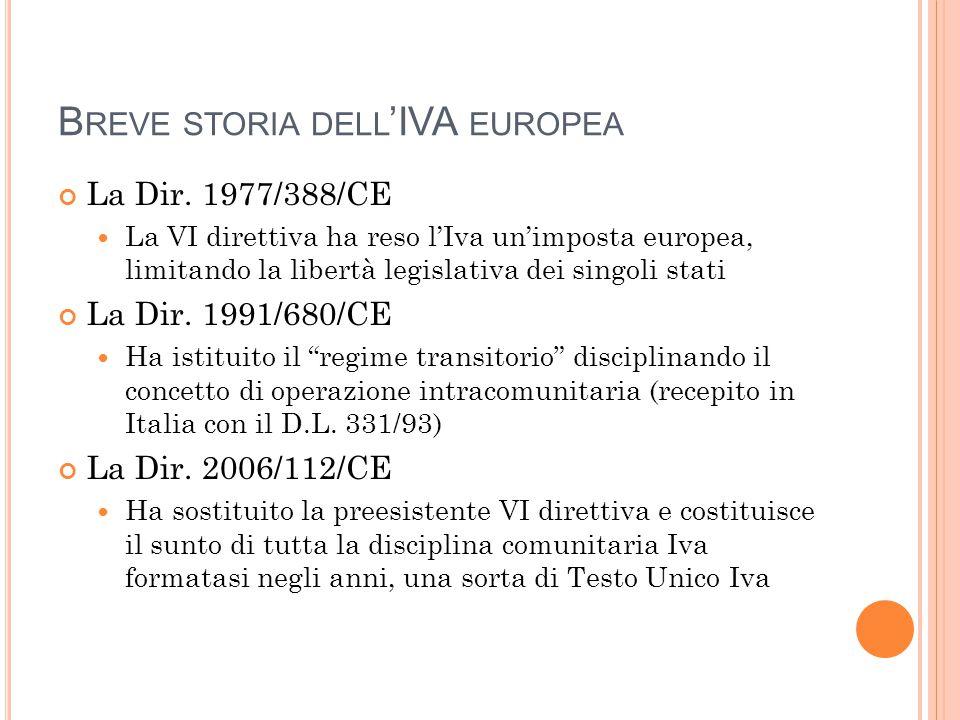 B REVE STORIA DELL 'IVA EUROPEA La Dir. 1977/388/CE La VI direttiva ha reso l'Iva un'imposta europea, limitando la libertà legislativa dei singoli sta