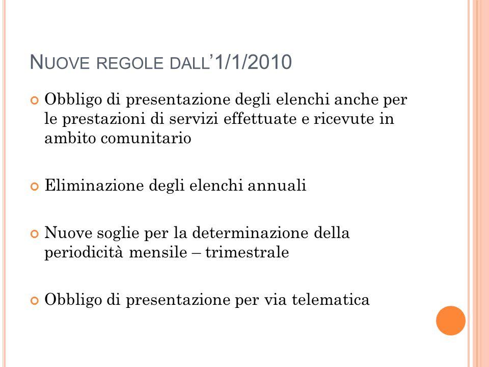N UOVE REGOLE DALL '1/1/2010 Obbligo di presentazione degli elenchi anche per le prestazioni di servizi effettuate e ricevute in ambito comunitario El