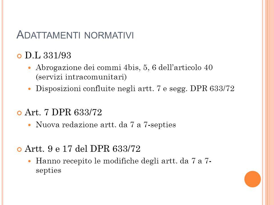 A DATTAMENTI NORMATIVI D.L 331/93 Abrogazione dei commi 4bis, 5, 6 dell'articolo 40 (servizi intracomunitari) Disposizioni confluite negli artt. 7 e s