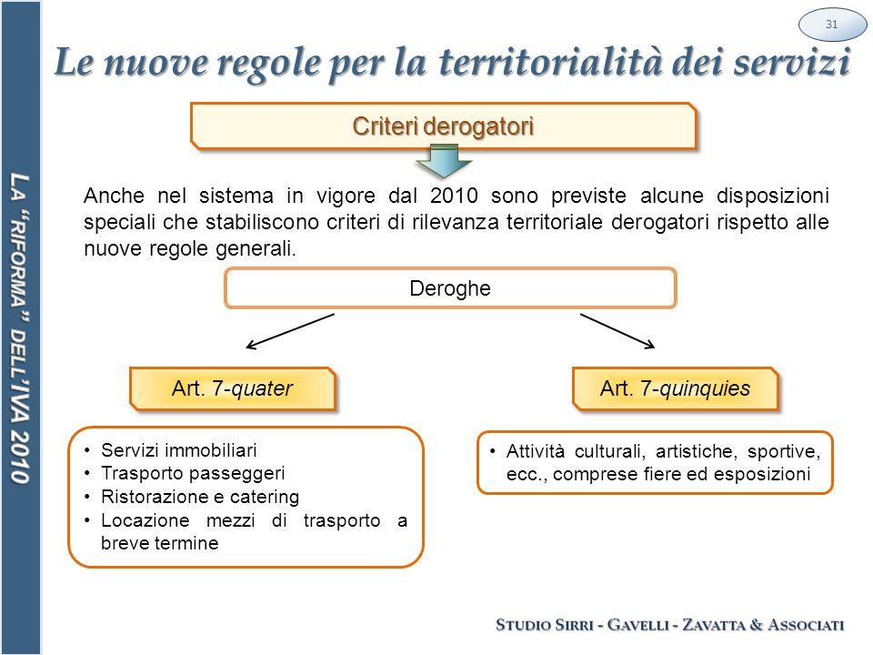 Le nuove regole per la territorialità dei servizi 31 Deroghe Criteri derogatori Anche nel sistema in vigore dal 2010 sono previste alcune disposizioni speciali che stabiliscono criteri di rilevanza territoriale derogatori rispetto alle nuove regole generali.