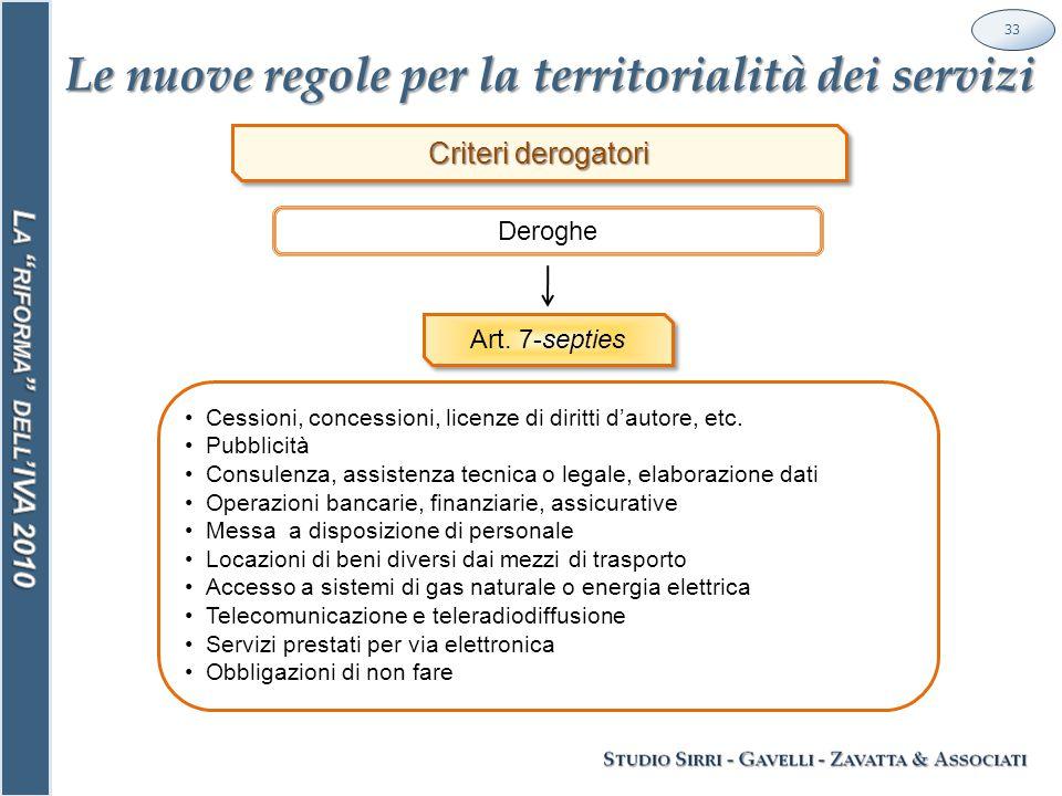 Le nuove regole per la territorialità dei servizi 33 Deroghe Criteri derogatori Art.